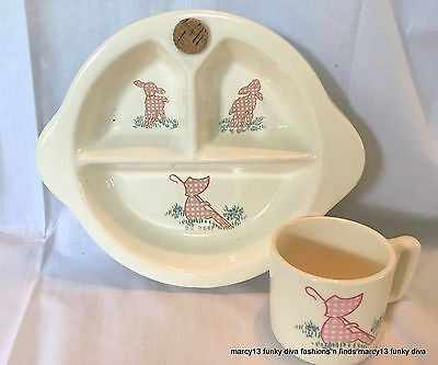 Vintage Child's Baby Dish Excello 40's Divided Warming Bowl & Cup Pink Bo Peep