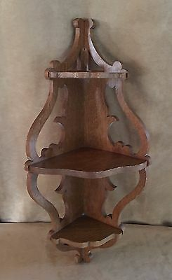 "Vintage Corner hanging Wall Shelf wooden 24"" carved display art noveau antique"