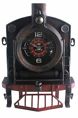 Vintage Rustic Metal Steam Locomotive Train Style Wall Clock With Hooks 33cm