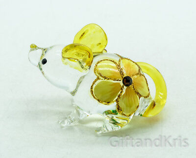Figurine Animal Hand Blown Glass Yellow Flower Rat Mouse Mice - GPRA018