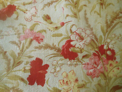 Antique French Hummingbird Botanical Floral Cotton Fabric ~Pink Red Yellow Olive