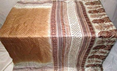Coffee Cream Pure Silk 4 yard Vintage Sari Saree Gift for Mother Clothes #983EN