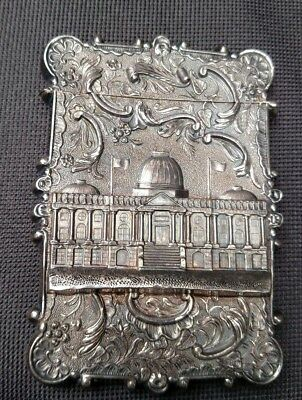 Rare Antique Sterling Silver Card Case With High Relief Of The  White House