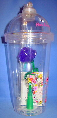 """EPCOT 2018 Flower and Garden Purple Light Up Rose Tumbler Cup Sipper 9"""" NEW"""