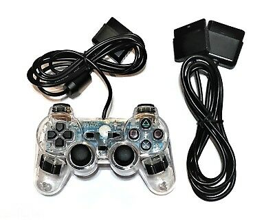New CLEAR Twin Vibration PS2 Controller + 6' Extension Cable (PlayStation 2)
