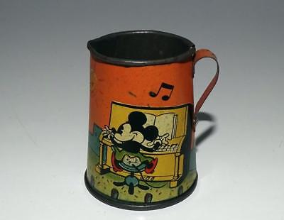 "DISNEY 1930's ""MICKEY'S HELPMATE"" TIN LITHOGRAPHED TEAPOT-ORANGE VERSION"