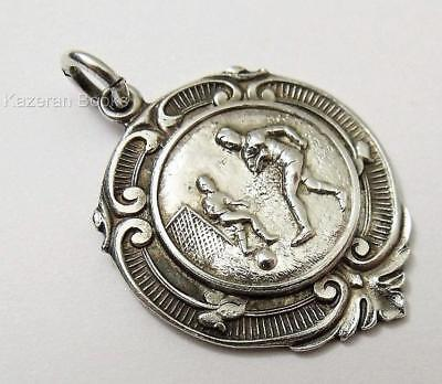 Vintage Football Soccer Solid Sterling Silver Pocket Watch Medal Fob