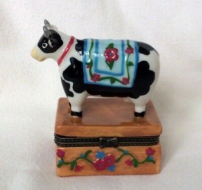COW Holstein TREASURE HINGED BOX Keepsake TRINKET BENCH Horns BABY CALF Bell