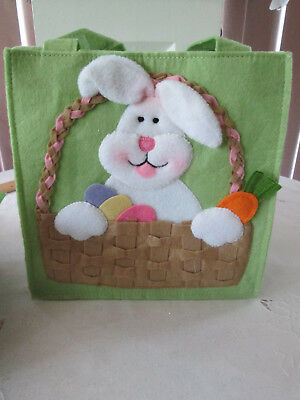 Avon2 Felt Fabric Bunny in Basket Easter Gift Bag, with Gift Tag, New