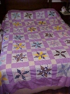 Vintage 1920/40s QUILT TOP,  COLORFUL 8 POINT STARS, LOTSA PURPLE