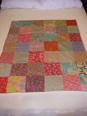 Vintage 1930s  PIECED TIED QUILT,  SCRAPPY SQUARES