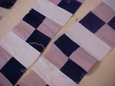 84 QUILT BLOCKS, BLUE & PRINTS, NAVY and CHECKERED