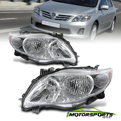 For 2009 2010 Toyota Corolla JDM Factory Style Chrome Headlights Head Lamps Pair