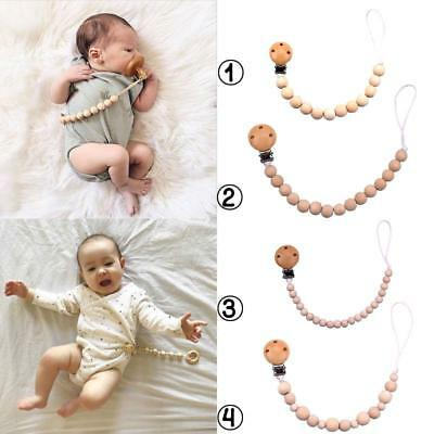 Wooden Beaded Pacifier Holder Clip Baby Nipple Teether Dummy Strap Chain Fashion