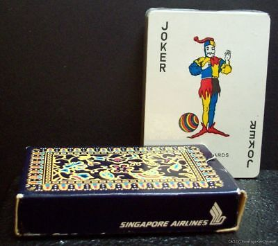 Vintage Singapore Airlines Playing Cards Sealed Deck Open Box Joker Ball