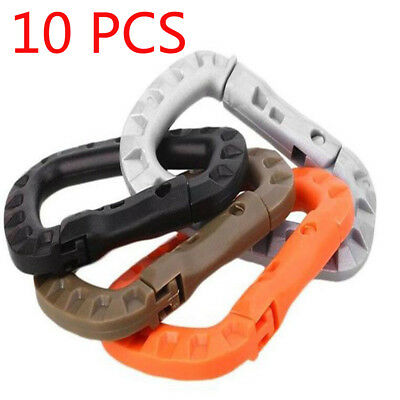 10Pcs Carabiner D Key Chain Clip Hook Molle Camping Tool Buckle Snap Plastic