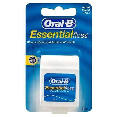 Oral B Essential Mint Waxed Dental Floss (50m per pack) (Pack of 6)