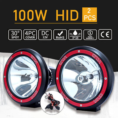 2PCS 7inch 100W HID Driving Lights XENON Spotlights Offroad 4x4 12V Spiral RED
