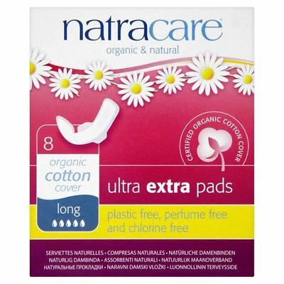 Natracare Organic Cotton Ultra Extra Long Pads with Wings 8 per pack (PACK OF 6)