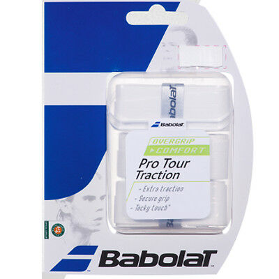 3 Babolat Pro Tour Traction Grips/Overgrips - White - Free P&P