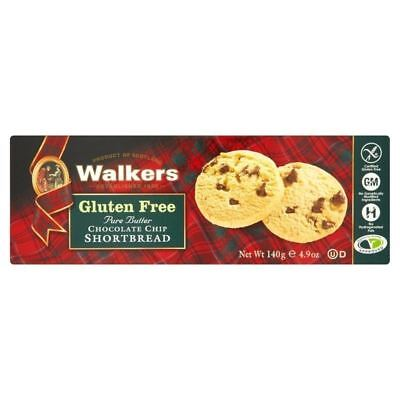 Walkers Gluten Free Chocolate Chip Shortbread 140g (Pack of 4)