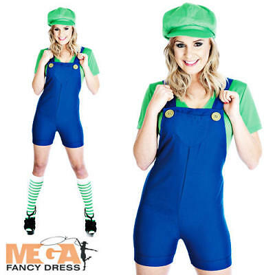 Luigi Ladies Fancy Dress Game 1980s Mario Womens Adult Costume Outfit + Hat BN