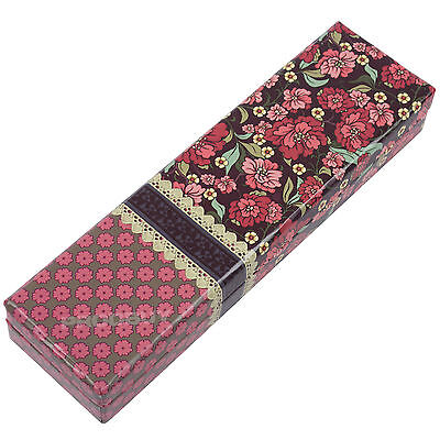 Red Floral Pattern Storage Box Art Card Stationery Holder Pencil Case Pen Gift