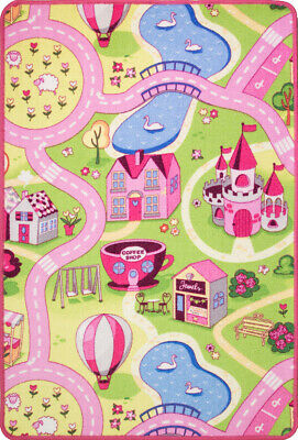 Girls Boys Pink Yellow Interactive FunFair Play Mat Fun Easy Clean Kids Rugs UK
