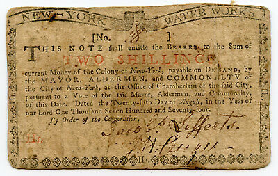 1774 New York Water Works 2 Shillings Colonial bank note VF stained