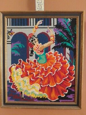 Vintage Needlepoint Vibrant Spanish Flamenco Dancer Picture Wall Art 25x21