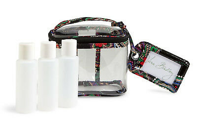 Vera Bradley Lighten Up Travel Duo Incl 3-1-1 Cosmetic + Matching Luggage Tag