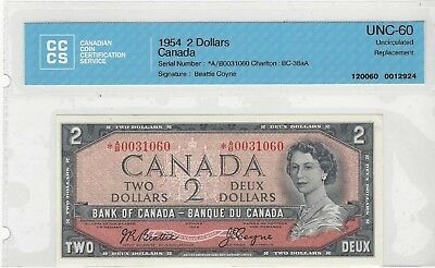 **1954**BOC $2 Note BC-38aA, Ser#*AB 0031060 Bea/Coy CCCS MS-60 Replacement