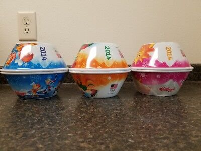 2014 Set Of 6 Olympic Kelloggs Cereal Bowls Collectible New Rare Collectible!!