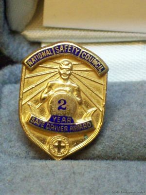 Vintage National Safety Council Safe Driver Award 2 Year Pin Truck Driving Badge
