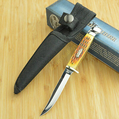 Rough Rider Amber Jigged Bone 440 Stainless Fixed Blade Knife with Sheath RR1033