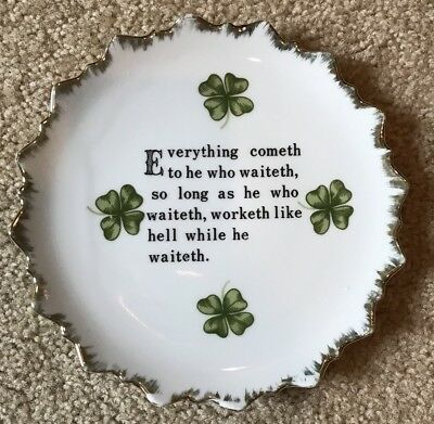 Vintage Irish Toast Motto Wall Hanging Plate Shamrocks