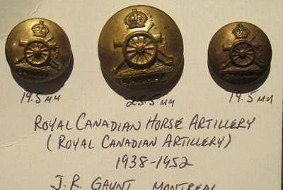 Royal Canadian Horse Artillery Group of 3 Brass Uniform Buttons by J R Gaunt