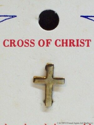 Vintage Small Cross of Christ Lapel Pin Gold Tone Old Badge on Card Tie Tack