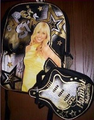 HANNAH Montana Backpack NeW Gold Glittery Canvas Book Bag Miley Cyrus Lunch Box