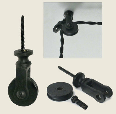 Vintage Style Black Metal Ceiling / wall Single Pulley for Pendant Lamp lights