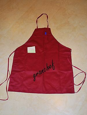 Professional Bib Apron ~ Full Length with 2 Pockets -  Burgundy New