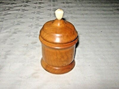 A Vintage English Wooden Treen Lidded Pot Container