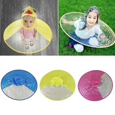 Cartoon Duck Children Raincoat Umbrella UFO Shape Rain Hat Cape Foldable  Gift 9b6c3320cad8