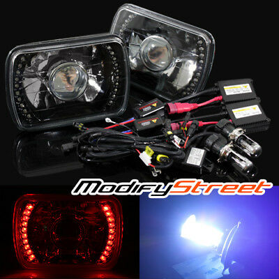 10000K HI-LOW HID/7x6 H6014/H6052/H6054 RED LED RING BLACK PROJECTOR HEADLIGHTS