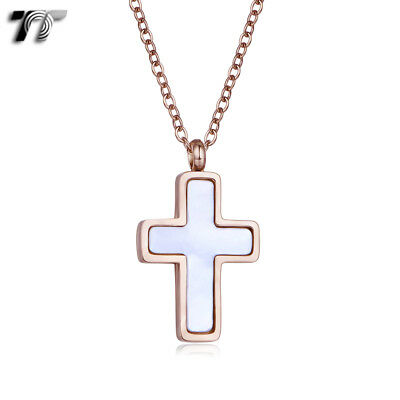 TT Rose Gold 316L Stainless Steel Mother Pearl Cross Necklace (NP362A) 2018 NEW