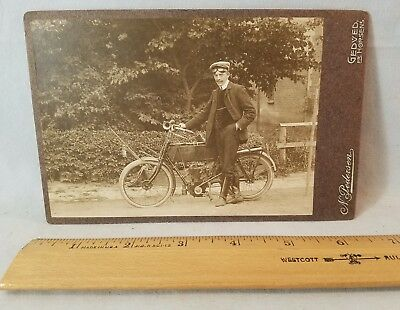 Circa 1906 Large Cabinet Card Photograph Allright Motorcycle Cologne Germany