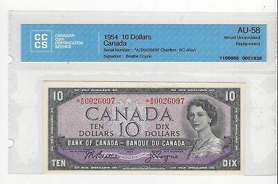 *1954*BOC BC-40aA, $10 Bea/Coy SN# *AD 0026097 CCCS AU-58 Replacement Note
