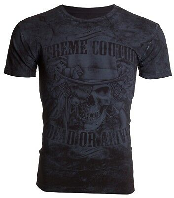 XTREME COUTURE by AFFLICTION Mens T-Shirt DEAD OR ALIVE Skull Guns Biker UFC $40