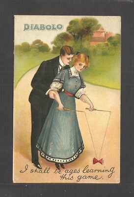 POSTCARD:  COUPLE PLAYING WITH DIABOLO GAME - SPINNING TOY ON A STRING - Unused