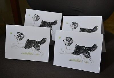 Border Collie.Post cards made from my original watercolor.Set of 4 .LOOK